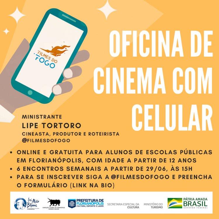 Oficina de Cinema com celular para alunos de escolas públicas