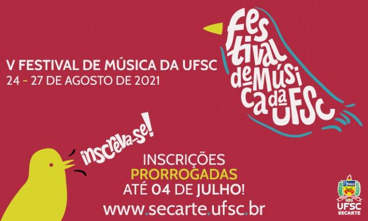 Festival de Música da UFSC tem inscrições prorrogadas até o domingo, 04/07